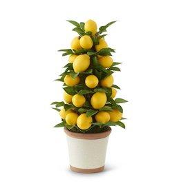 K&K Interiors Lemon and Foliage Cone Tree Topiary in Ceramic Pot