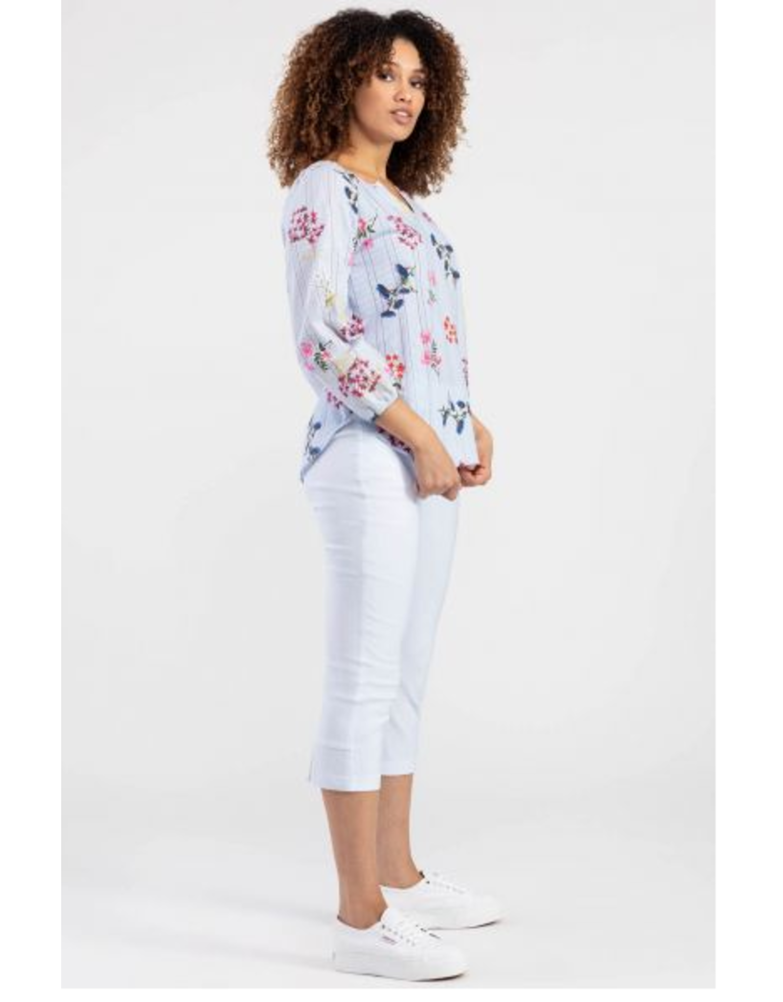 Tribal Sky Blue Foral Blouse