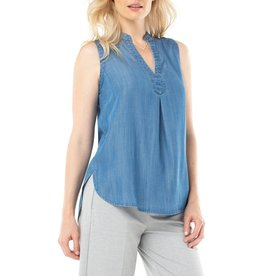 LIVERPOOL Mandarin Collar Blue Sleeveless Top