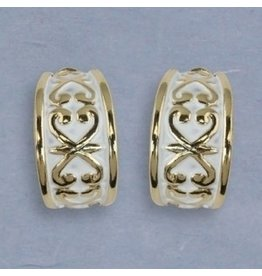 Periwinkle Clip Earrings Gold with White Wash