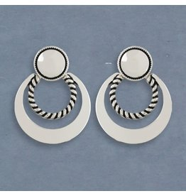 Periwinkle Clip Earrings Silver with Rope