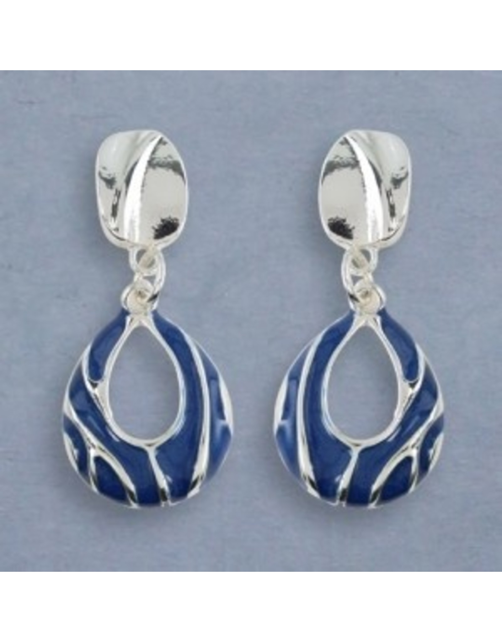 Periwinkle Clip Earrings Blue Enamel and Silver
