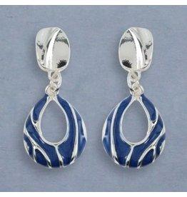 Periwinkle Clip Earrings Blue Enamel and Silver
