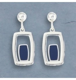 Periwinkle Clip Earrings Silver and Navy Rectangles