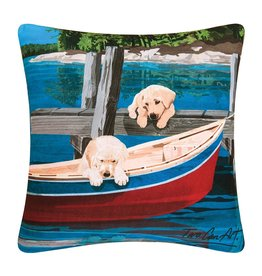 C&F Enterprise Puppies and Canoe Pillow