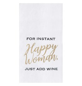 "C&F Enterprise ""For Instant Happy Woman, Just Add Wine"" Dish Towel"
