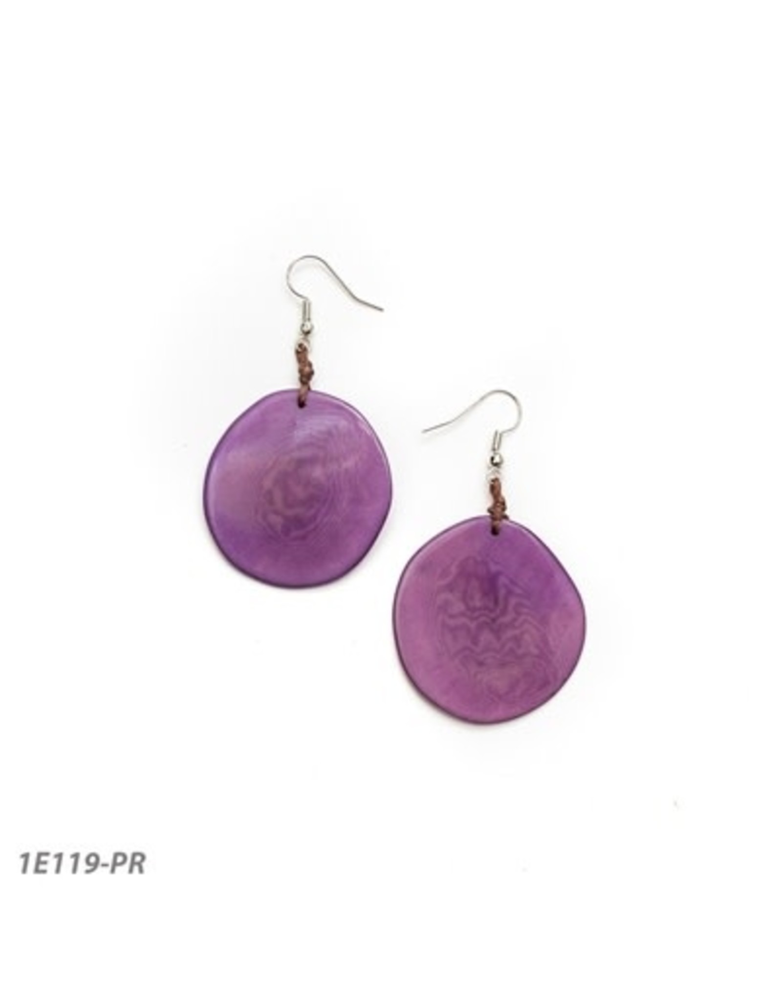 Tagua 1E119 Oro Earring Purple