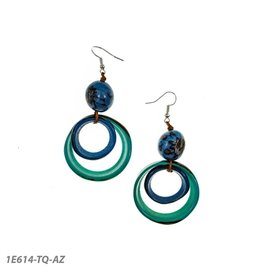 Tagua Nadia Earrings Turquoise and Royal Blue