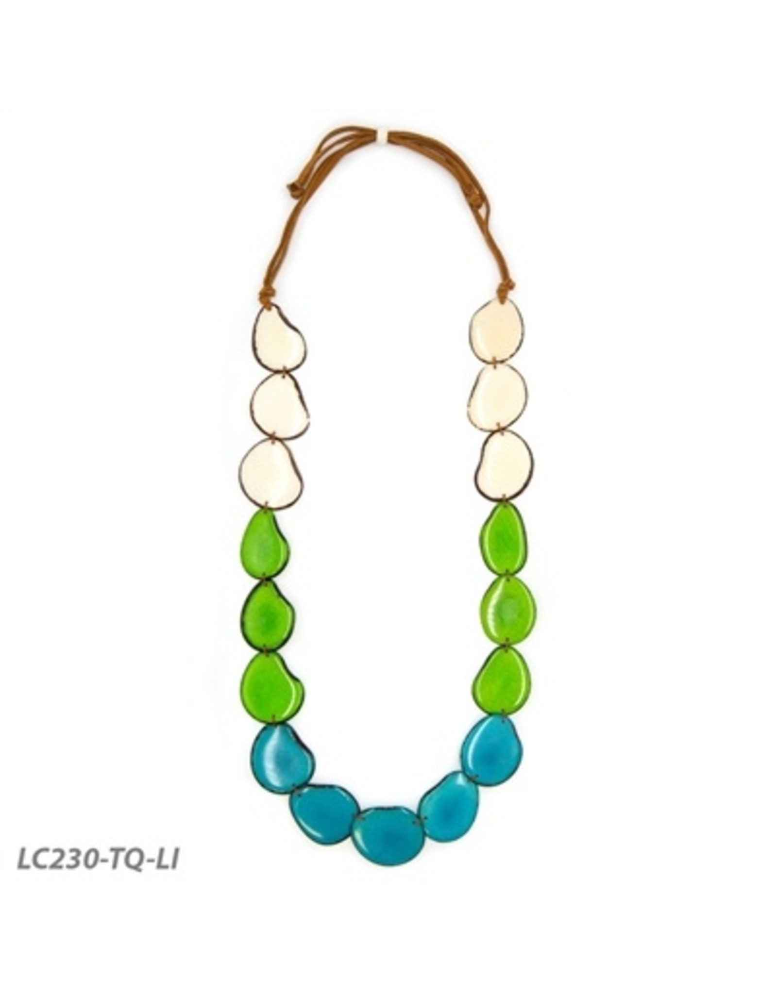 Tagua LC230-TQ-LI Angelina Necklace in Turquoise and Lime