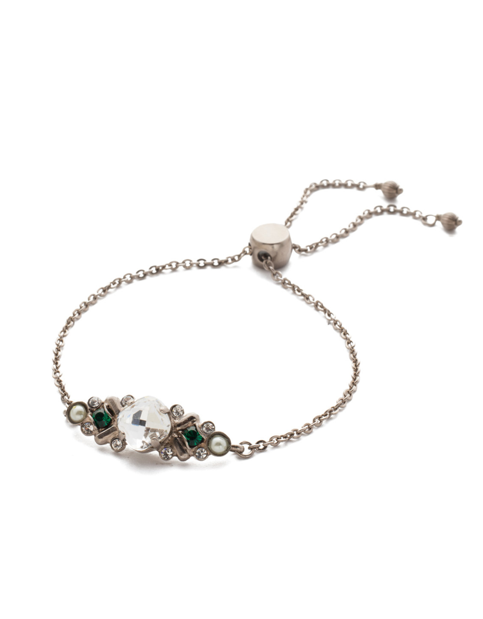 Sorrelli Snowy Moss Crystal Adjustable Bracelet