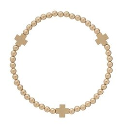 ENewton Signature Cross Matte Gold Pattern  Bead Bracelet / Gold