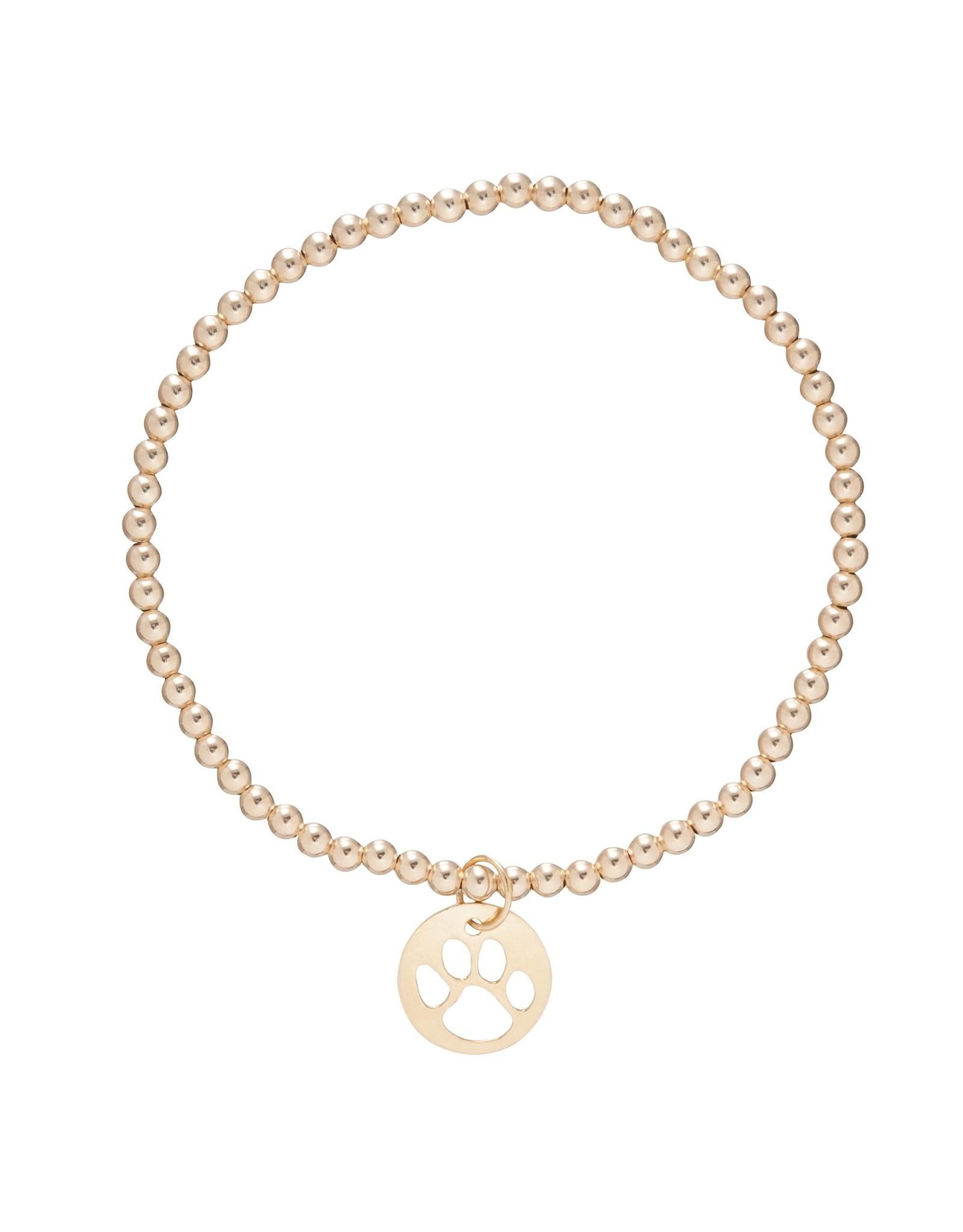 ENewton Classic Gold Paw Print Beaded Bracelet 3MM