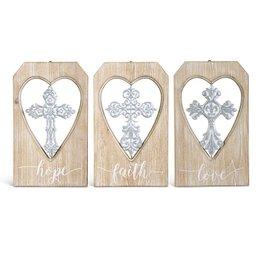 K&K Interiors Metal Cross On Wooden Hanging Plate