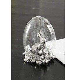 K&K Interiors Silver Bunny inside Egg Dome