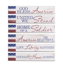 K&K Interiors Whitewash Americana Message Tabletop Sign