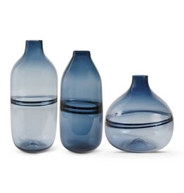 "K&K Interiors 10"" Purrsian Blue Glass Vase"