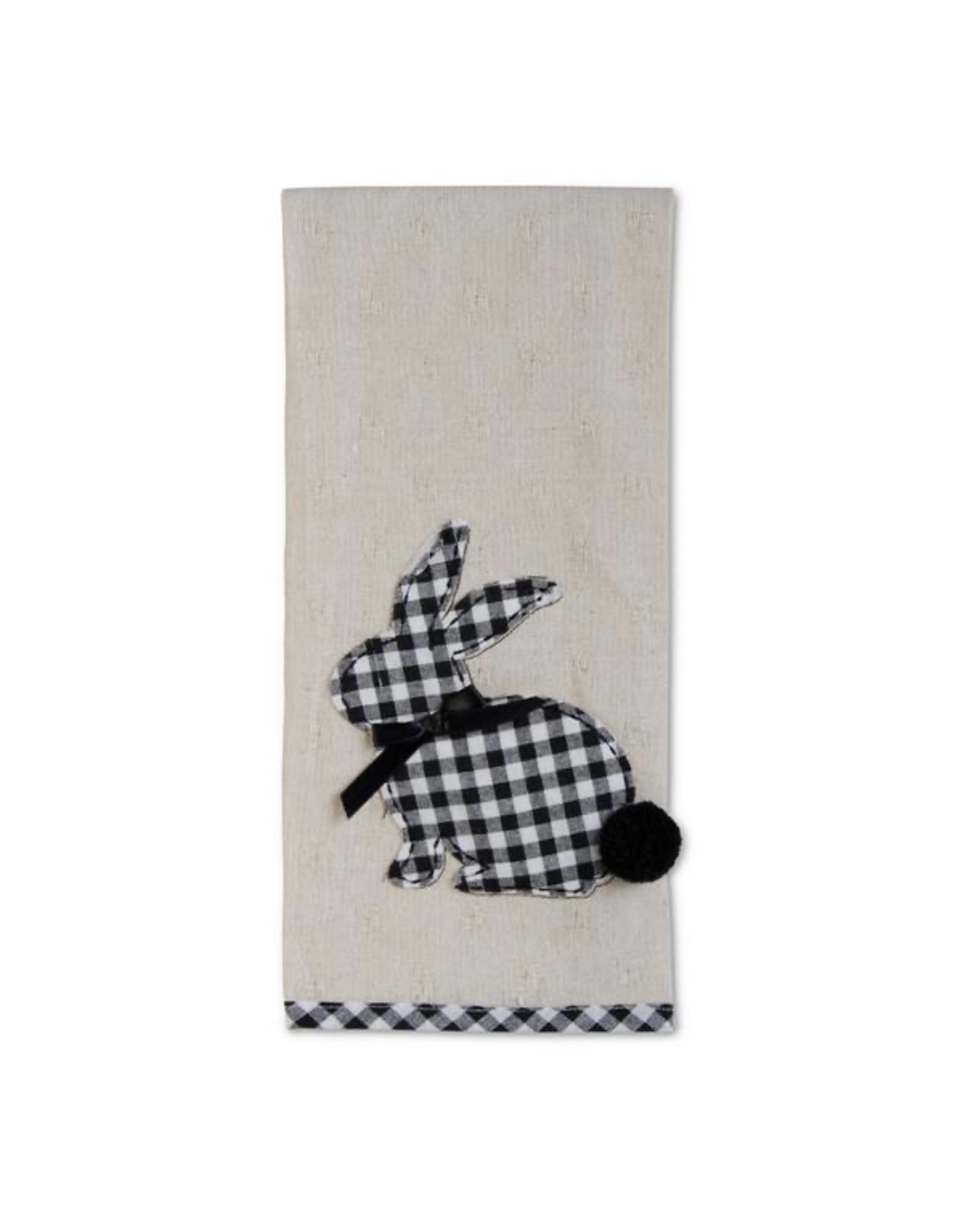 K&K Interiors Black and White Checker Bunny Towel