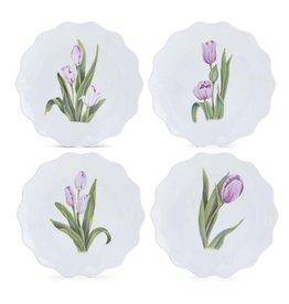 K&K Interiors Assorted Tulip Melamine Appetizer Plates