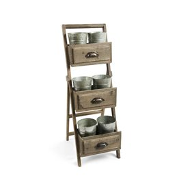 K&K Interiors Wooden Planter Stand with 6 Buckets