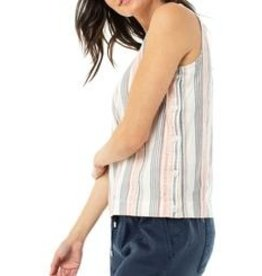 LIVERPOOL Hot Coral Side Button Sleeveless Tank