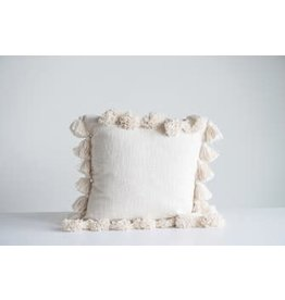 "Creative Co-Op 18"" Square Cotton Pillow w/ Tassels, Cream"