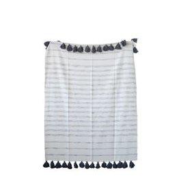 "Creative Co-Op 60""L x 50""W Cotton Woven Striped Throw w/ Tassels, White & Grey"