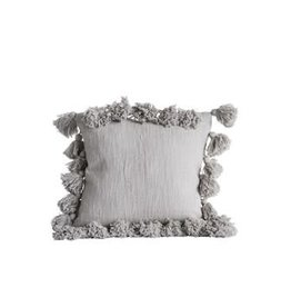 "Creative Co-Op 18"" Square Cotton Pillow w/ Tassels, Grey"