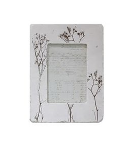 "Creative Co-Op 8-1/2""L x 11-1/4""H Resin Photo Frame w/ Embossed Wildflowers, White (Hold 5"" x 7"" Photo)"