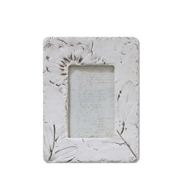 "Creative Co-Op 7-1/2""L x 9-3/4""H Resin Photo Frame w/ Embossed Wildflowers, White"