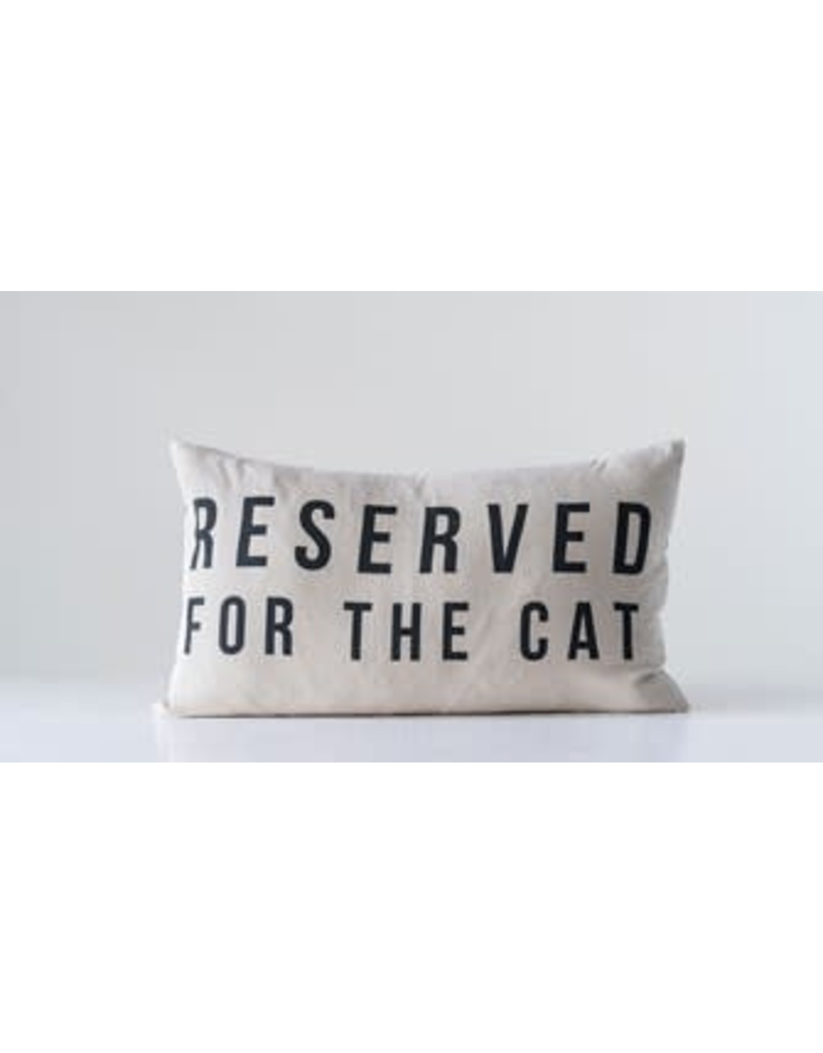 """Creative Co-Op 24""""W x 14""""H Cotton Pillow """"Reserved For The Cat"""""""