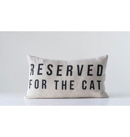 "Creative Co-Op ""Reserved For The Cat"" Cotton Pillow"