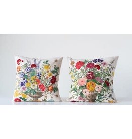 "Creative Co-Op 18"" Square Cotton & Linen Embroidered Pillow, 2 Styles"