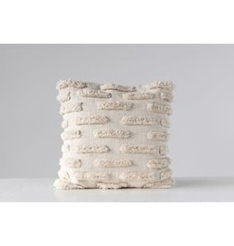 "Creative Co-Op 20"" Square Woven Cotton Pillow w/ Fringe, Natural"