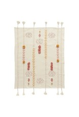 """Creative Co-Op 60""""L x 50""""W Cotton Embroidered Throw w/ Tassels & Applique, Cream Color"""