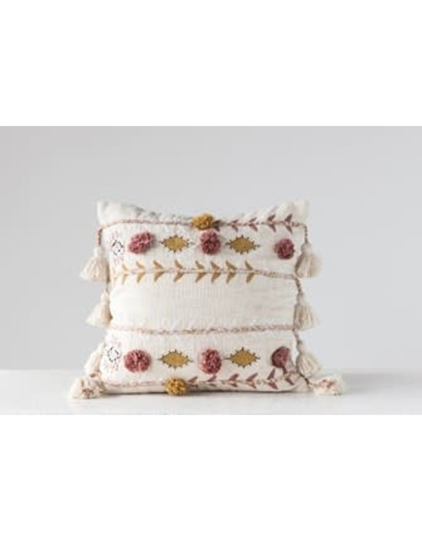 "Creative Co-Op 20"" Square Cotton Embroidered Pillow w/ Tassels & Applique, Cream Color"
