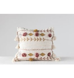 "Creative Co-Op 20"" Square Cotton Embroidered Pillow w/ Tassels & Applique, Cream Color"