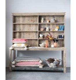 "Creative Co-Op 74""L x 23""W x 77""H Reclaimed 2-Piece Wood & Metal Hutch w/ 6 Shelves"