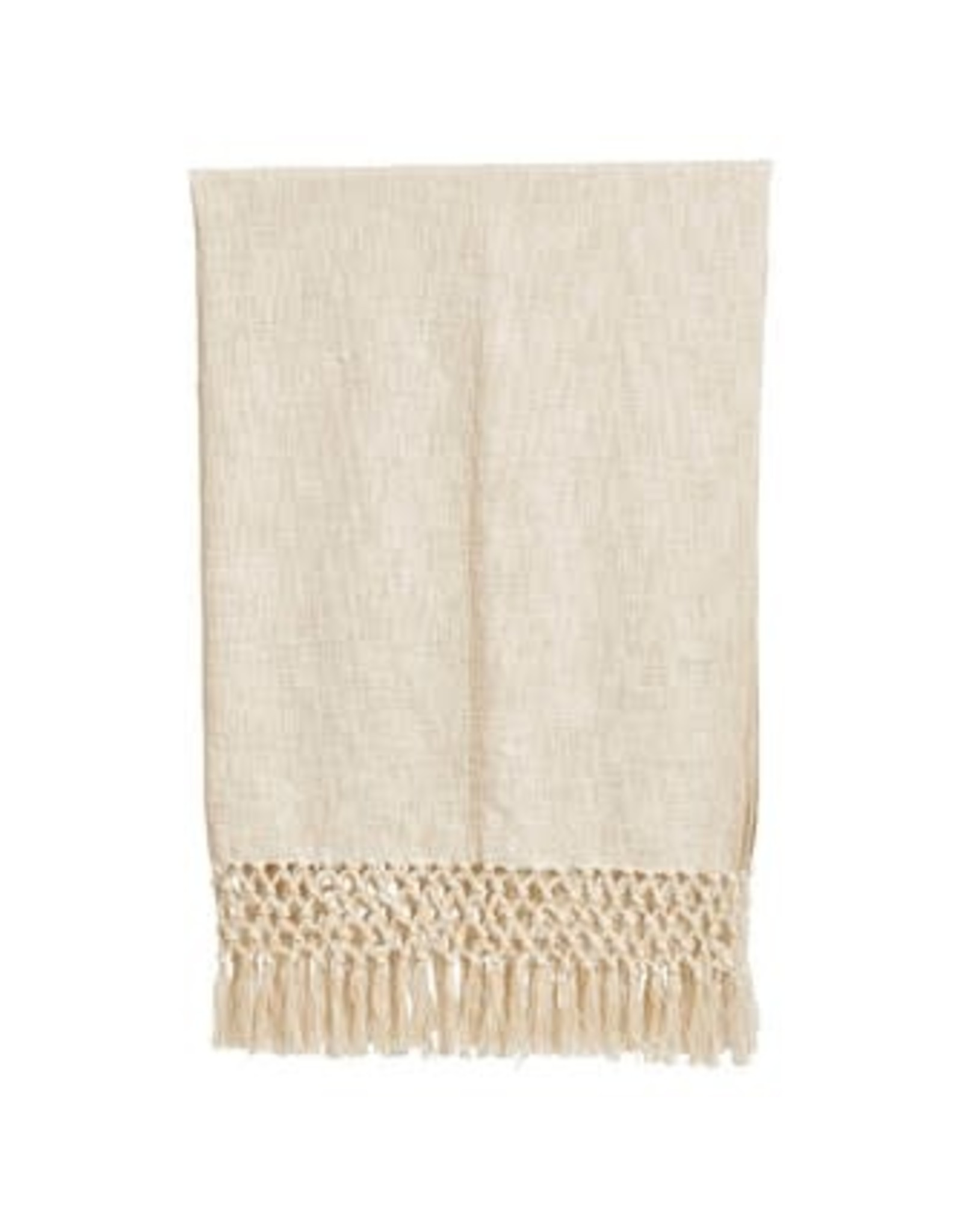 "Creative Co-Op 50""L x 60""W Woven Cotton Throw w/ Crochet & Fringe, Cream Color"