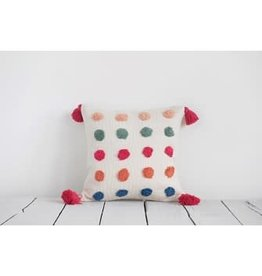 "Creative Co-Op 16"" Square Woven Cotton Pillow w/ Tufted Dots & Tassels, Multi Color"