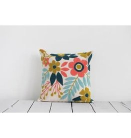 "Creative Co-Op 18"" Square Woven Cotton Floral Pillow w/ Embroidery, Multi Color"