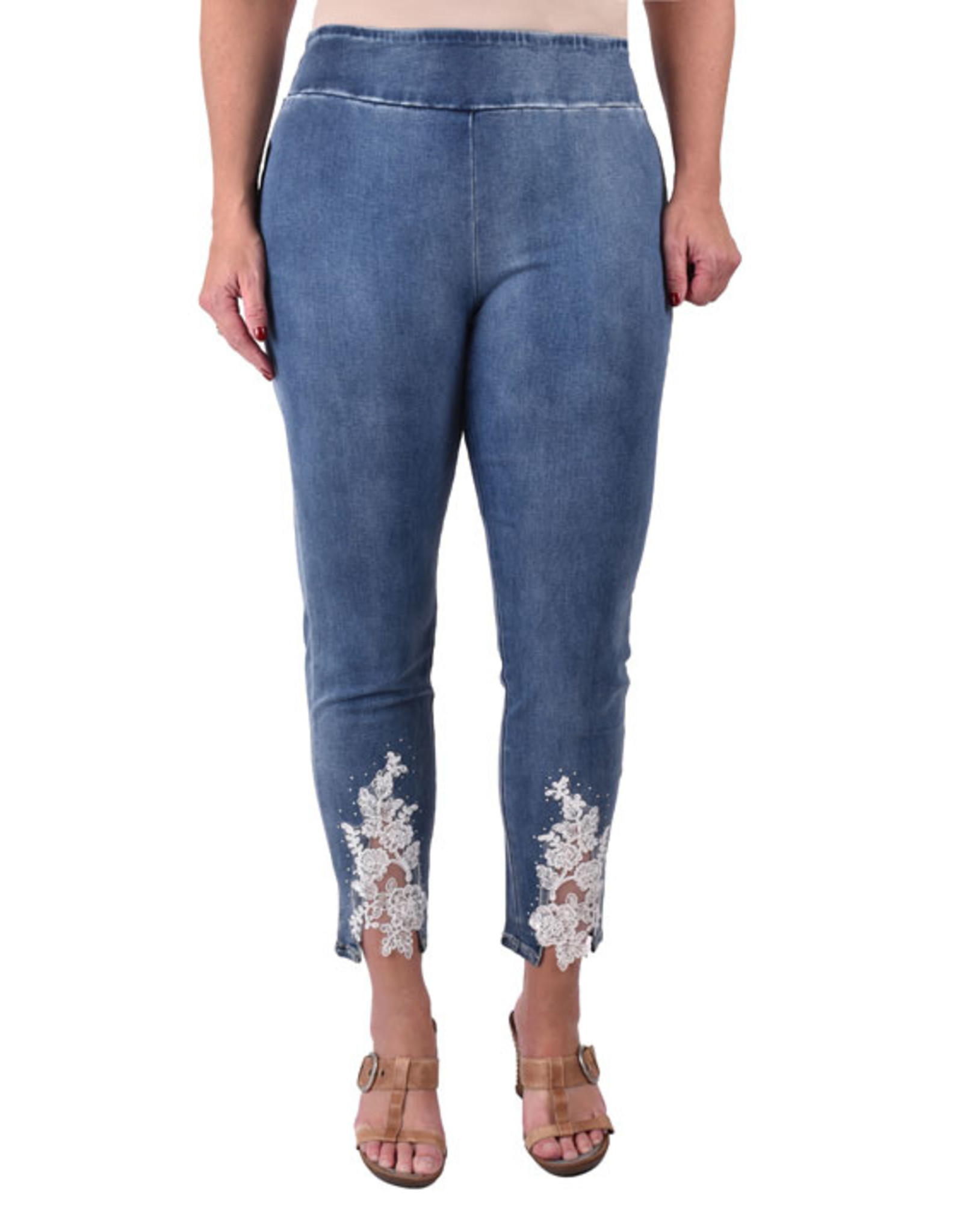 Ethyl by True Blue Inc Alani Pull-On Ankle Pant with Lace