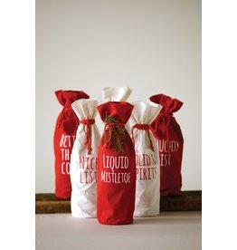 Creative Co-Op Fabric Drawstring Wine Bag