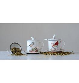 Creative Co-Op Stoneware Mug and Saucer Set