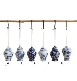 "Creative Co-Op Blue Ginger Jar Ornament 3"""