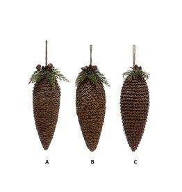 "Creative Co-Op Pinecone Drop Ornament w/ Faux Foliage & Jingle Bells 11"""