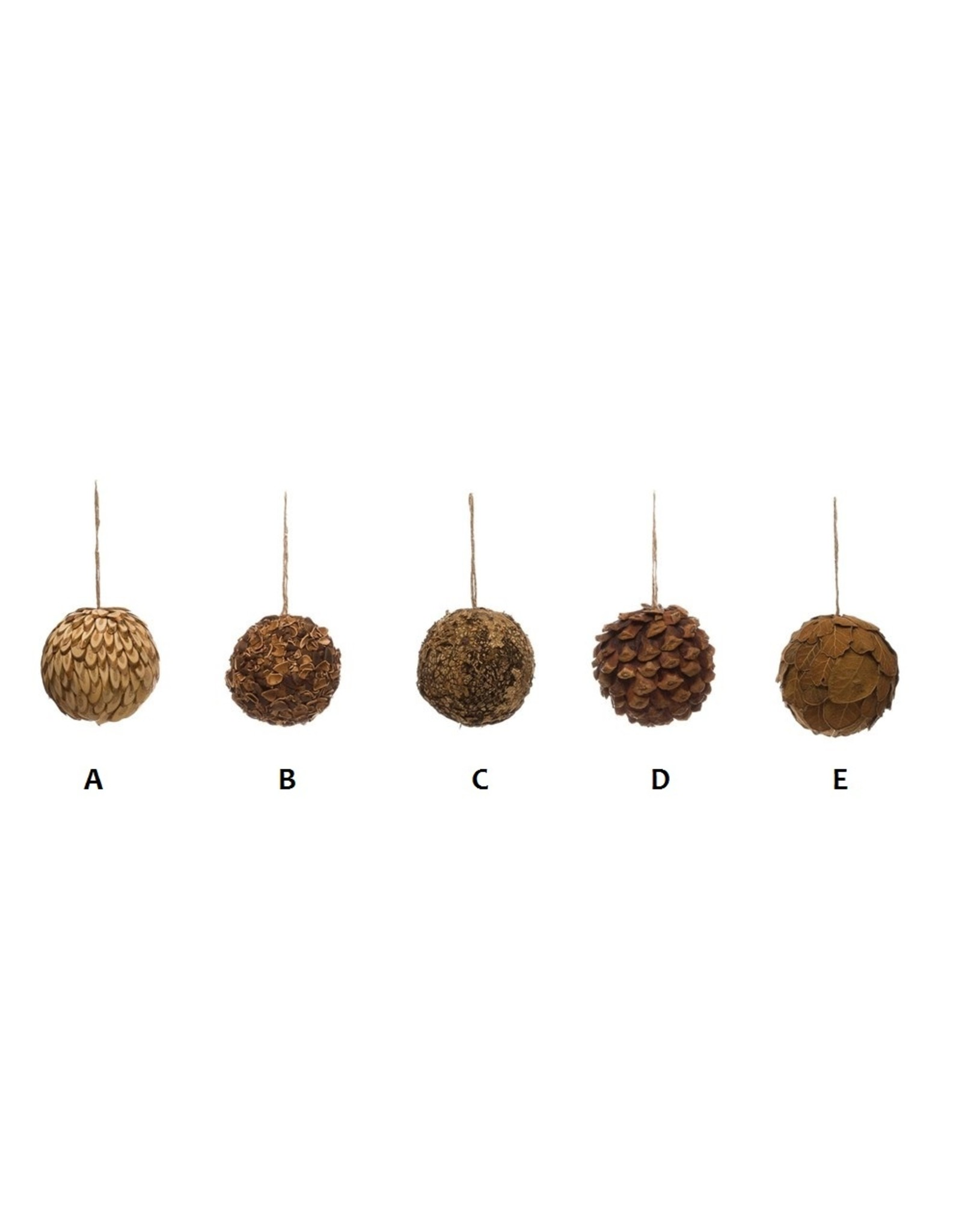 Creative Co-Op Round Dried Natural Greenery Ball Ornament 3""