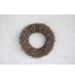 """Creative Co-Op Round Speckled Feather Wreath 17"""""""