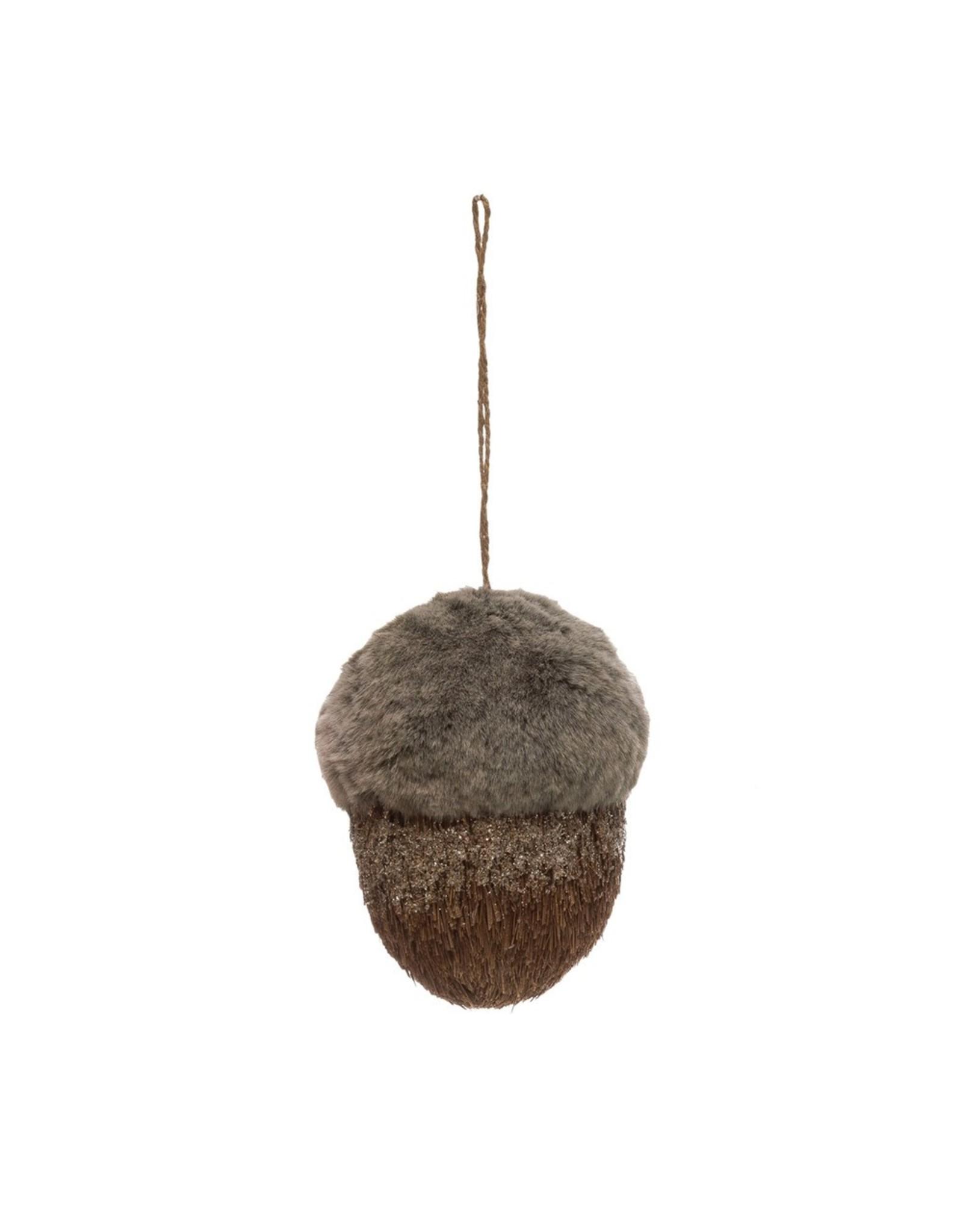 "Creative Co-Op Faux Fur & Sisal Acorn Ornament 6"""