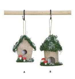 "Creative Co-Op Paper Birdhouse Ornament 4.5"""