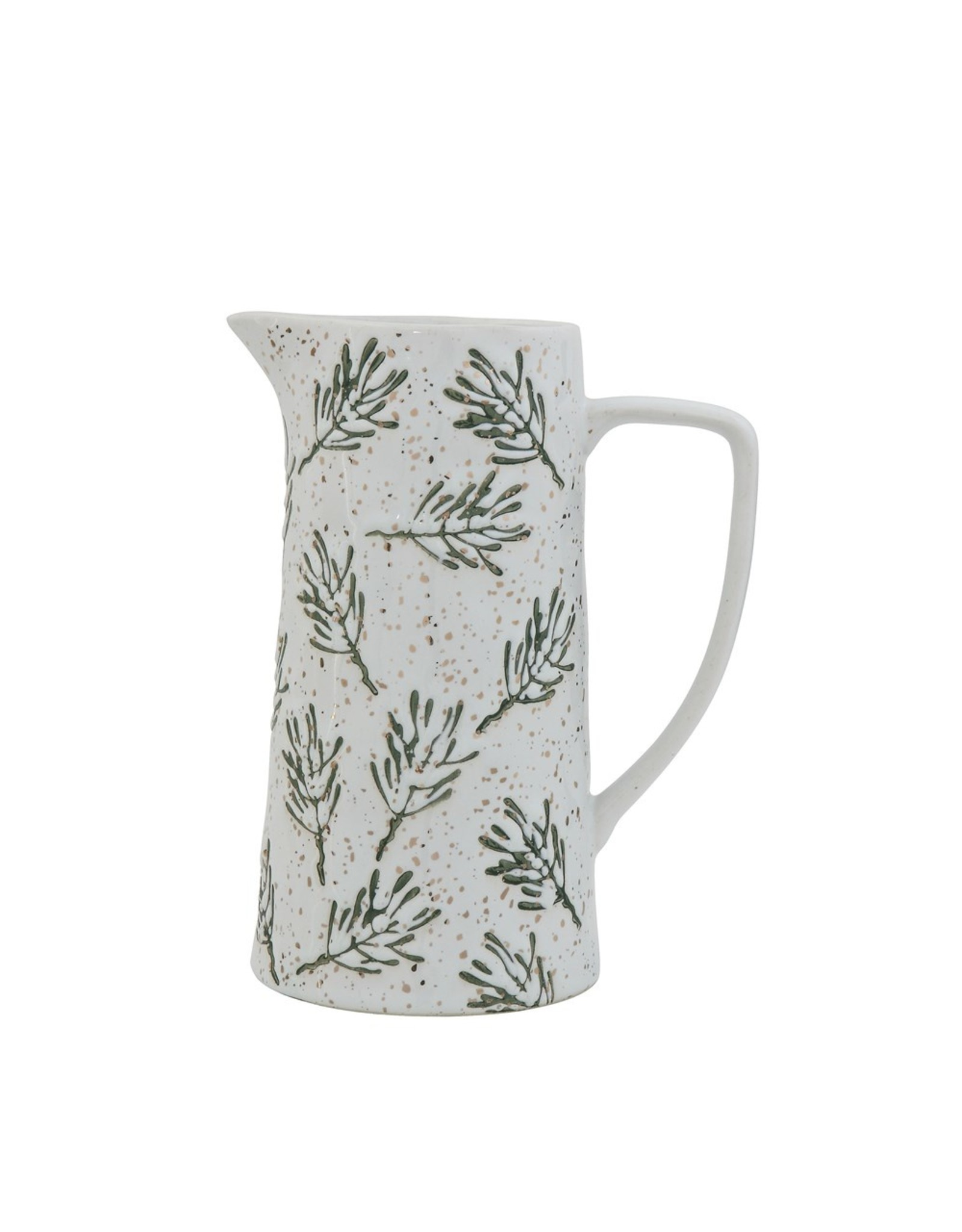 Creative Co-Op Stoneware Hand-Painted Pine Pitcher